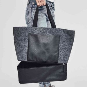 Gray Felt Tote w/Shoe Compartment BNWT